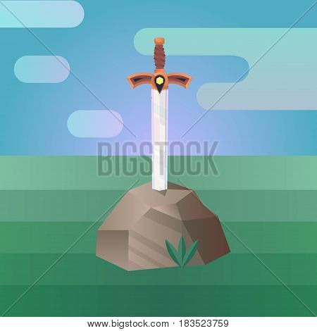 Vector illustration in a flat style. Sword in the Stone.
