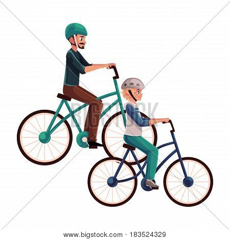 Young man riding bicycle, cycling together with his teenage son, cartoon vector illustration isolated on white background. Full length, side view portrait of father and son riding bicycles, cycling