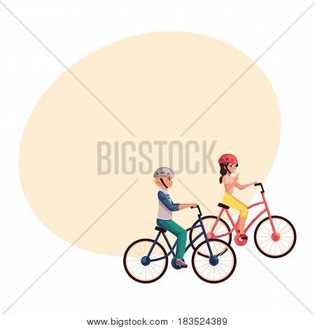 Young pretty woman riding bicycle, cycling together with her teenage son, cartoon vector illustration with space for text. Full length, side view portrait of mother and son riding bicycles