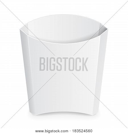 French Fries White Paper Box. Fast Food. Illustration Isolated On White Background. Mock Up Template Ready For Your Design. Vector EPS10