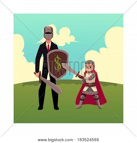 Businessman as knight with helmet, sword, shield, and his kid, cartoon vector illustration isolated on white background. Modern knight in business and child stands on green grass under summer sky