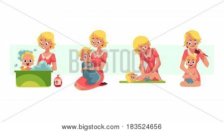 Set of young mother washing baby in bath, putting diaper on, combing hair, drying with towel, cartoon vector illustration isolated on white background. Mother washing, bathing caring baby, kid