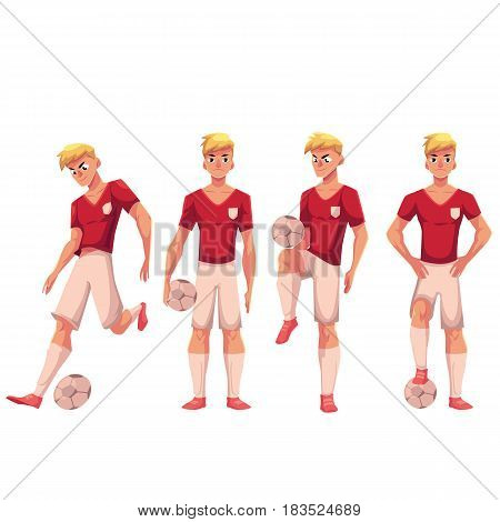 Set of soccer, football player in different positions, kicking, juggling, holding a ball, standing, cartoon vector illustration isolated on white background. Soccer player with football ball