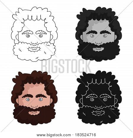 Caveman face icon in cartoon style isolated on white background. Stone age symbol vector illustration.
