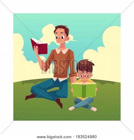 Young man and little boy reading books sitting legs crossed on the grass, cartoon vector illustration isolated on white background. Man and boy, father and son reading thick interesting books, sitting