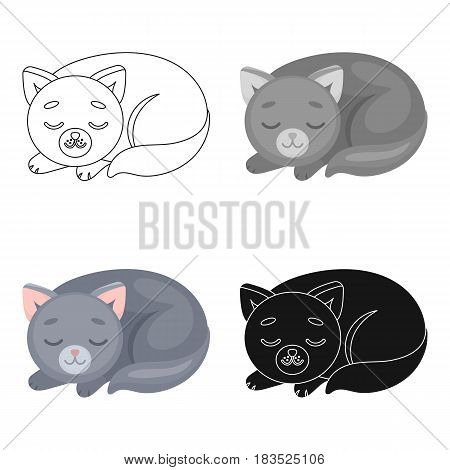 Sleeping cat icon in cartoon design isolated on white background. Sleep and rest symbol stock vector illustration.