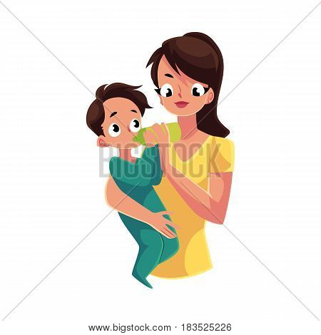 Mother holding and feeding her little baby son with milk bottle, cartoon vector illustration isolated on white background. Half length portrait of young mother holding and feeding her baby son