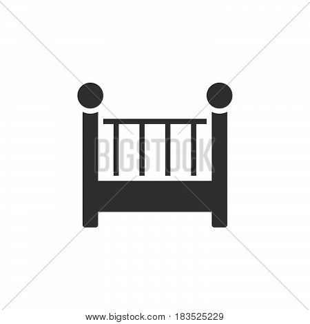 Cot crib icon vector filled flat sign solid pictogram isolated on white. Symbol logo illustration. Pixel perfect