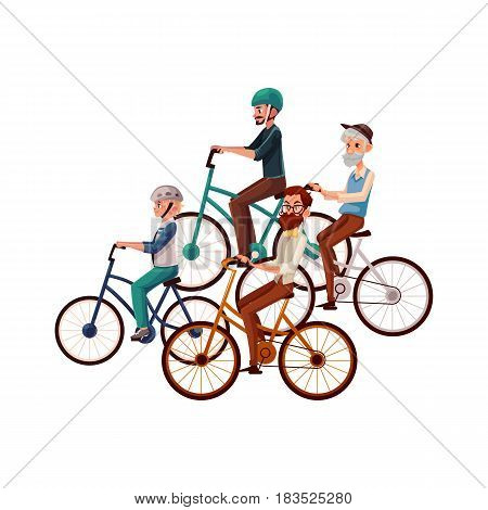 Teenage boy and young, mature, old men riding bicycles, cycling, cartoon vector illustration isolated on white background. Father, grandfather, great grandfather and son riding bicycles, cycling
