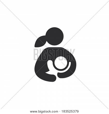 Breast feeding woman breastfeeding her child icon vector filled flat sign solid pictogram isolated on white. Symbol logo illustration. Pixel perfect