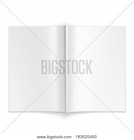 Blank Opened Magazine, Book, Booklet, Brochure. On White Background Isolated. Mock Up Template Ready For Your Design. Product Packing Vector EPS10