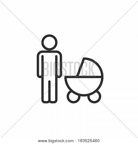 Father with baby pram line icon outline vector sign linear style pictogram isolated on white. Symbol logo illustration. Editable stroke. Pixel perfect
