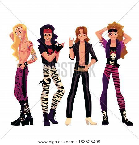 Set of young men, boys, guys dressed as glam rock stars, cartoon vector illustration isolated on white background. Full length portrait of glam rock stars, leather, heavy boots, bare chest