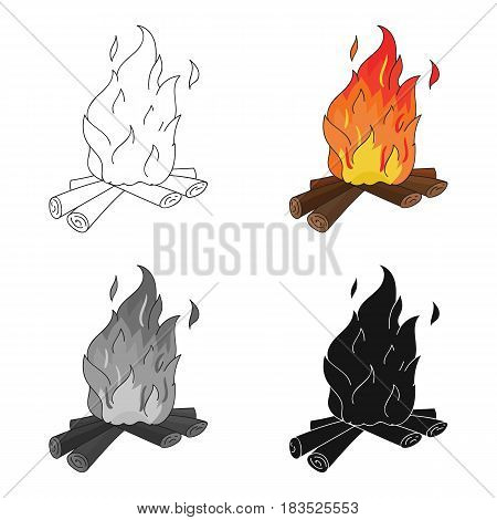 Campfire of stone age icon in cartoon style isolated on white background. Stone age symbol vector illustration.