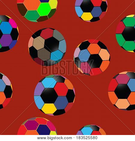Seamless pattern of colorful balls with plain background