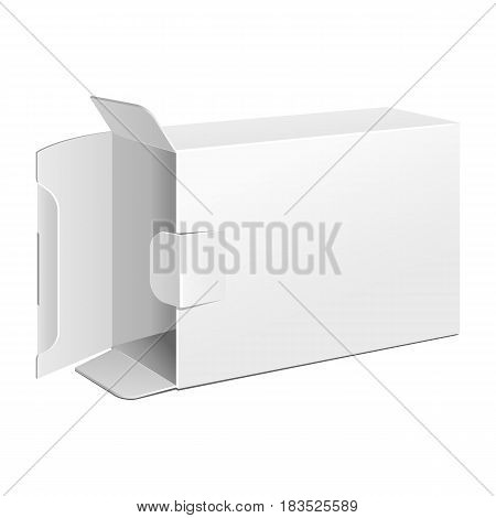 Opened White Product Cardboard Package Box. Illustration Isolated On White Background. Mock Up Template Ready For Your Design. Vector EPS10