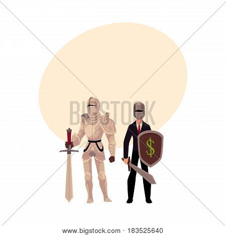 Medievel and modern, businessman knight in metal armor and business suit, cartoon vector illustration with space for text. Two knights - modern and medievel, standing, holding sword