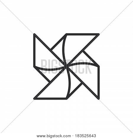 Paper Windmill Pinwheel line icon outline vector sign linear style pictogram isolated on white. Symbol logo illustration. Editable stroke. Pixel perfect