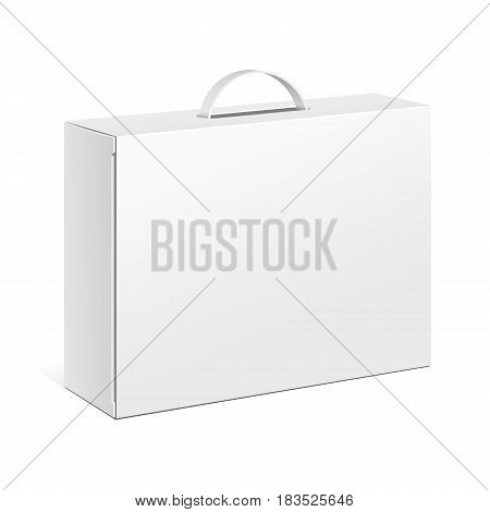 White Product Cardboard Package Box With Hang Slot. Illustration Isolated On White Background. Mock Up Template Ready For Your Design. Vector EPS10