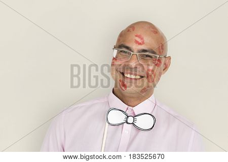 Man Smiling Happiness Lipstick Kiss Portrait
