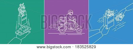 Food delivery concept. Lineart Illustration set in flat style