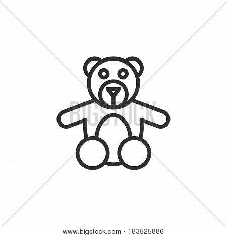 Teddy bear toy line icon outline vector sign linear style pictogram isolated on white. Symbol logo illustration. Editable stroke. Pixel perfect