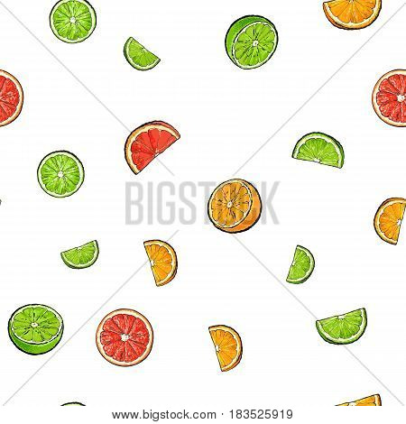 Seamless pattern of whole and cut limes, oranges, grapefruits, textile, backdrop design, sketch vector illustration on white background. Seamless pattern of hand drawn limes, oranges, grapefruits