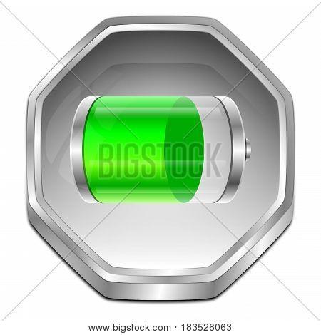 silver green Battery Button - 3D illustration
