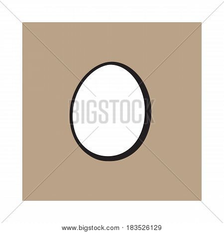 Single whole hard boiled, peeled, unshelled chicken egg, sketch style vector illustration isolated on brown background. Hand drawn, sketched single peeled boiled chicken egg
