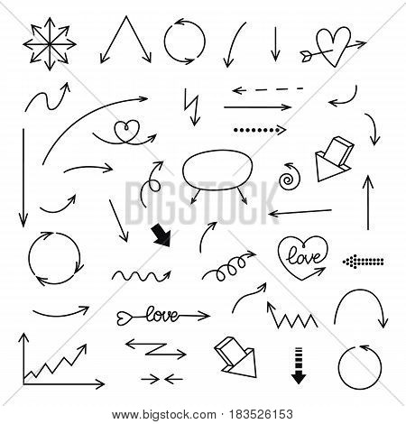 Hand drawn vector arrows set. vector illustration isolated on white background