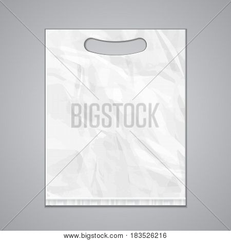 Disposable Plastic Bag Package Grayscale Template. Mock Up Template Ready For Your Design. Product Packing Vector EPS10. Isolated