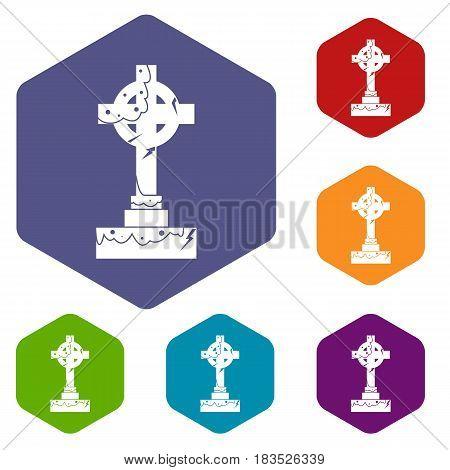 Irish celtic cross icons set hexagon isolated vector illustration