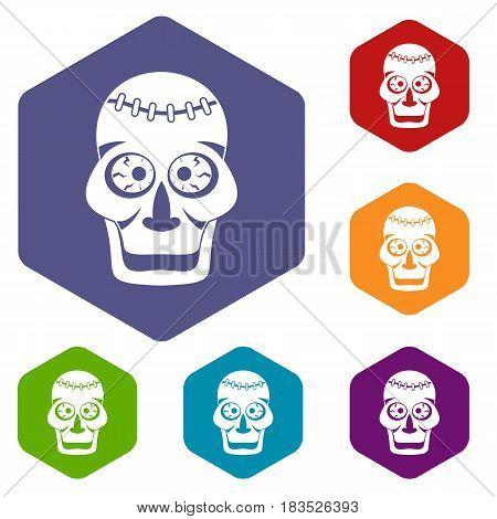 Skull icons set hexagon isolated vector illustration
