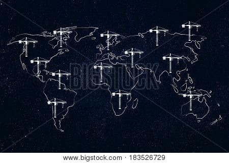 World Map With Multitude Of Tower Cranes On All Continents