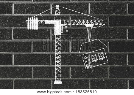 Tower Crane Lifting Up A Whole House
