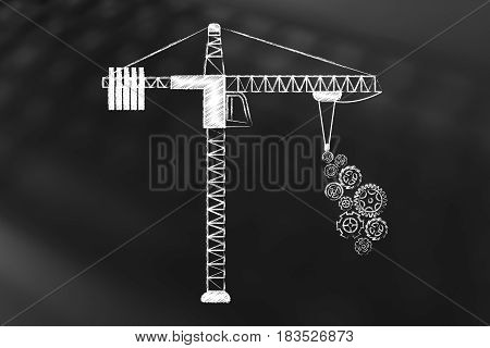 Tower Crane Lifing A Series Of Gearwheels
