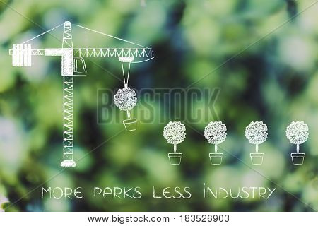 Tower Crane Building A Line Of Trees, Text More Parks Less Industry