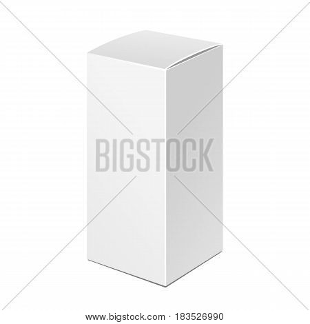 Tall White Product Cardboard Package Box. Illustration Isolated On White Background. Mock Up Template Ready For Your Design. Product Packing Vector EPS10. Isolated.