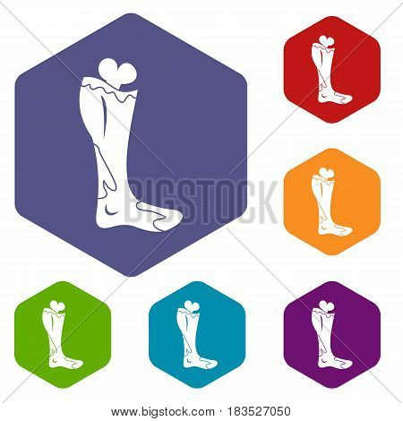 Zombie leg icons set hexagon isolated vector illustration