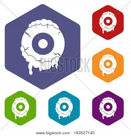 Scary eyeball icons set hexagon isolated vector illustration
