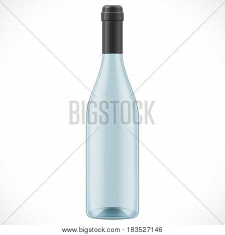 Blue Glass Wine Cider Bottle. Illustration Isolated On White Background. Mock Up Template Ready For Your Design. Product Packing Vector EPS10. Isolated.