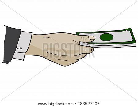 Money offer good job regard reward suit hand