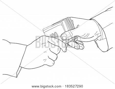 Corruption money politics agreement simple line hands