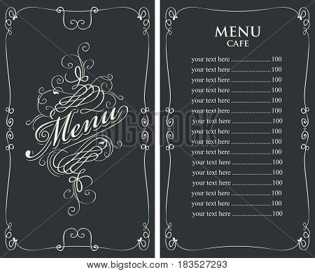template vector menu for cafe with price list and curlicues with calligraphic inscription in baroque style on black background