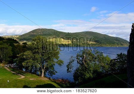 Gorgeous rolling hills surrounding Loch Ness in Scotland.