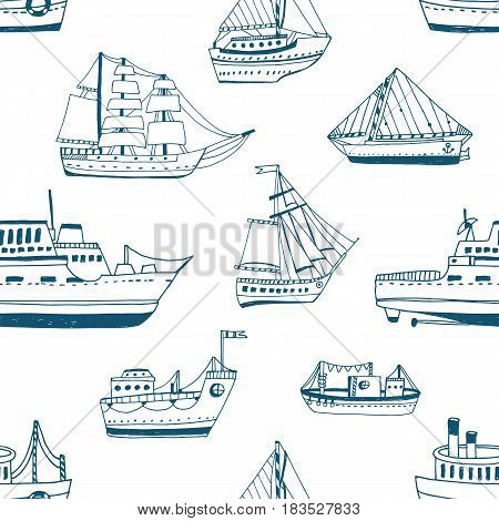 Seamless pattern with doodle ships, yachts, boats, sailing craft, sailboat, nautical vessel. Background with sea transport. Contour hand drawn illustration
