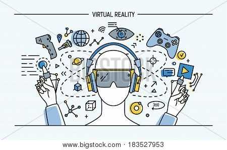 virtual reality lineart banner. colorful vector illustration.