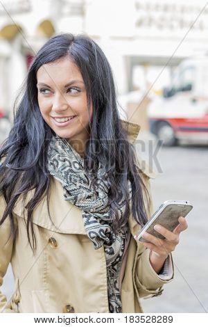 woman writes sms
