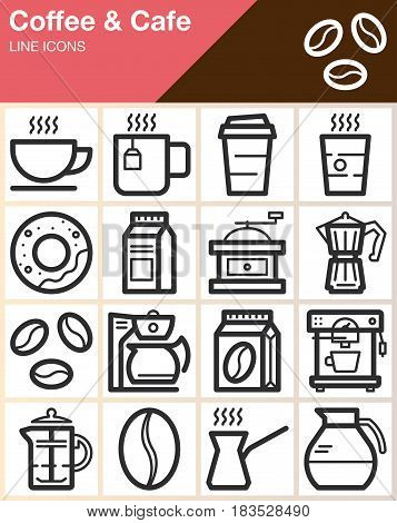 Coffee and Cafe line icons set outline vector symbol collection linear style pictogram pack. Signs logo illustration. Include icons as cup donut mug beans coffee machine grinder
