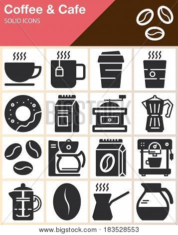Coffee and Cafe vector icons set modern solid symbol collection filled style pictogram pack. Signs logo illustration. Include icons as cup donut mug beans coffee machine grinder